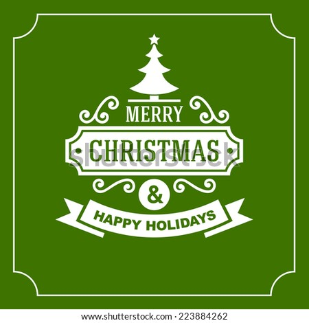 Christmas Retro Typographic Background on Green. Vector illustration