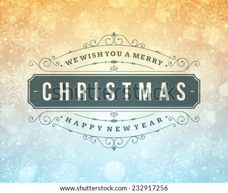 Christmas retro typography and light with snowflakes. Merry Christmas holidays wish greeting card design and vintage ornament decoration. Happy new year message. Vector background. - stock vector