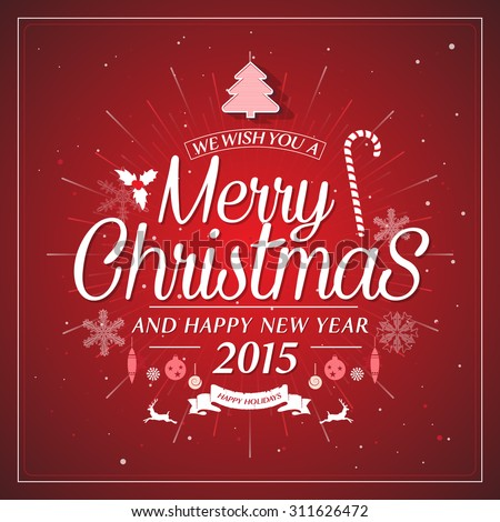 Christmas retro typography holidays wish greeting card design and vintage ornament decoration on red - stock vector