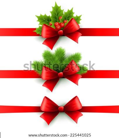 Christmas Ribbon Decoration Stock Vector 225441025 - Shutterstock