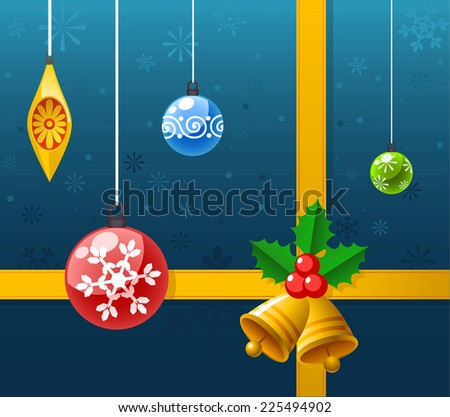 Christmas ribbon decoration background design vector cartoon illustration - stock vector