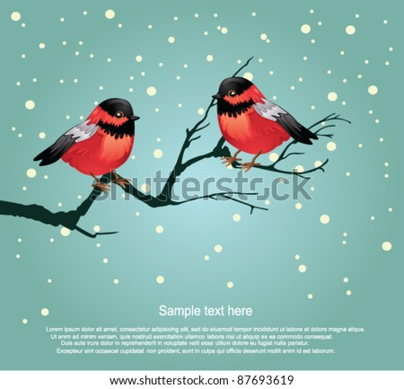 Christmas robins - stock vector