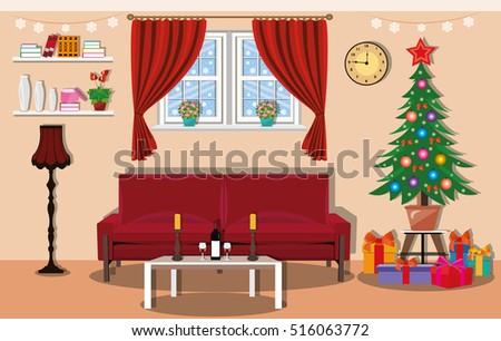 Christmas Room Interior Design With Large Window With Curtains, Christmas  Tree, Gifts, Decoration