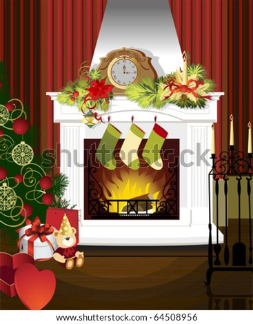 Christmas room with fireplace and presents under tree. All elements and textures are individual objects. Vector illustration scale to any size. - stock vector