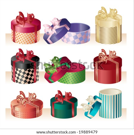christmas round boxes - vector - stock vector