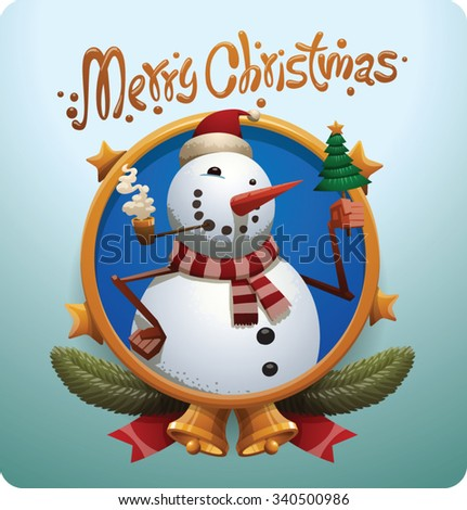 Christmas round gold label with stars bells and Christmas snowman in red christmas hat and green scarf smoking and holding a little christmas tree with gold star on top, vector - stock vector