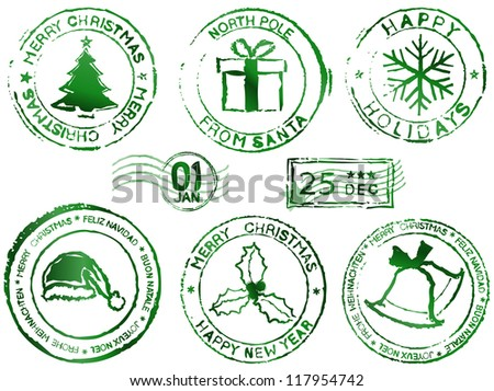 Christmas rubber stamps - stock vector