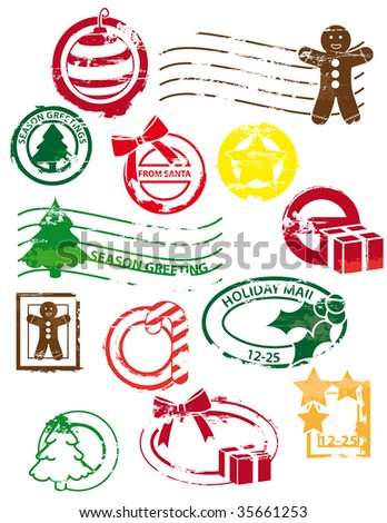 Christmas - rubber stamps - stock vector