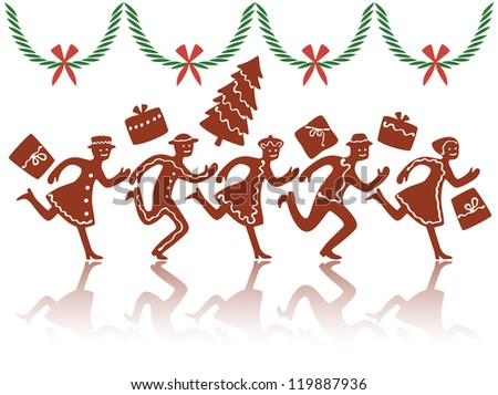 Christmas rush with ginger cookie figures