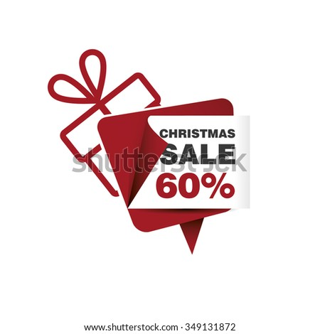 Christmas sale 60% and gift box - stock vector