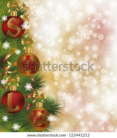 Christmas sale background, vector illustration