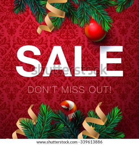 Christmas sale bakcground, promotional poster for Christmas sale, vector illustration. - stock vector