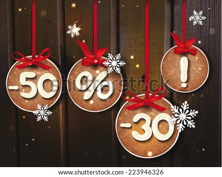 Christmas sale banner with the cookies, red ribbons and snowflackes - stock vector