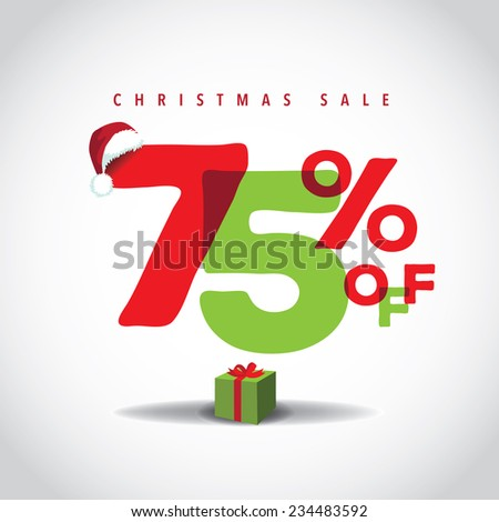 Christmas sale big bright overlapping design 75% off EPS 10 vector stock illustration - stock vector