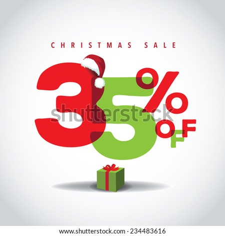 Christmas sale big bright overlapping design 35% off EPS 10 vector stock illustration - stock vector