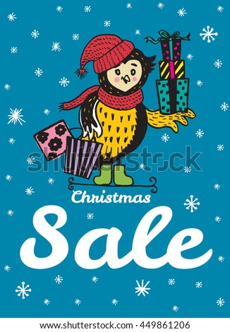 Christmas Sale card with hand drawn Owl. Vector hand drawn illustration of Owl character on blue background. - stock vector