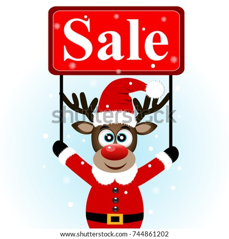 Christmas sale, Christmas deer with banner. Christmas deer with a sign. Vector illustration.