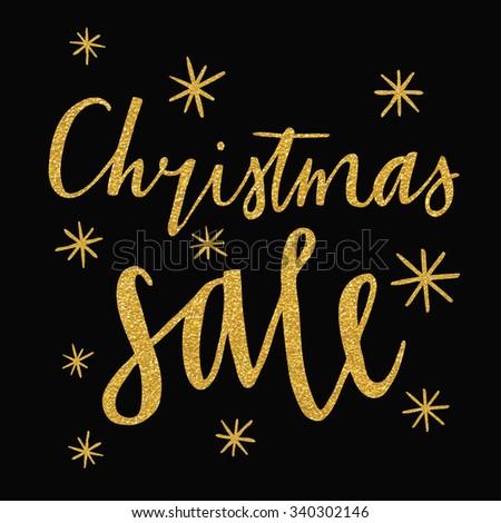 Christmas sale design template. trendy gold glitter texture - stock vector