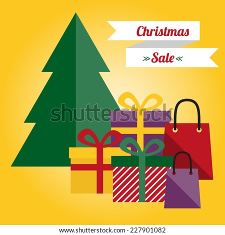 Christmas sale illustration with tree and presents.