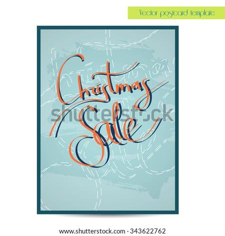Christmas sale lettering. Handwritten vector calligraphy.  Handwritten vector calligraphy over blue poster or poscard template - stock vector