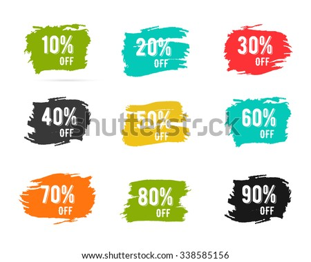 Christmas sale percents, new year, black friday, cyber monday or winter autumn discount price tags. Vector paint watercolor brush, splash. Unusual design for web, app or print. Easy to change color. - stock vector