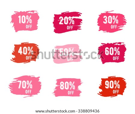 Christmas sale percents, new year, black friday, cyber monday or winter autumn discount price tags. Vector pink palette watercolor brush, splash. Unique design for web, app or print - stock vector