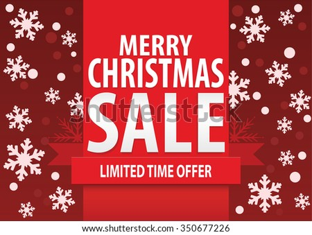 Christmas sale poster; Merry Christmas sale with stylized white snowflakes, vector illustration - stock vector