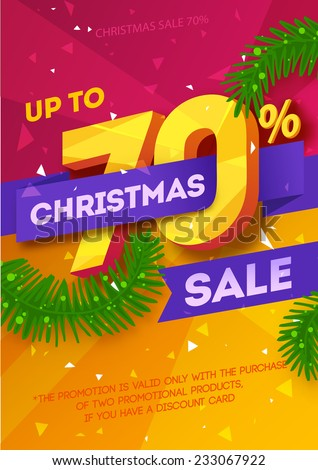 Christmas sale poster. Vector - stock vector