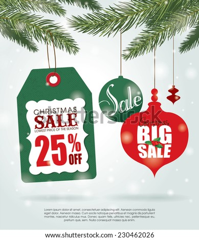Christmas sale poster with sale tag & Christmas ornaments - stock vector