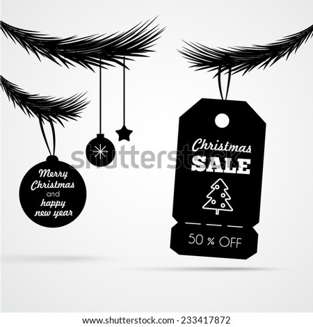Christmas sale poster with sale tag silhouette - stock vector