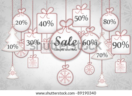 Christmas Sale Set Of Balls - stock vector