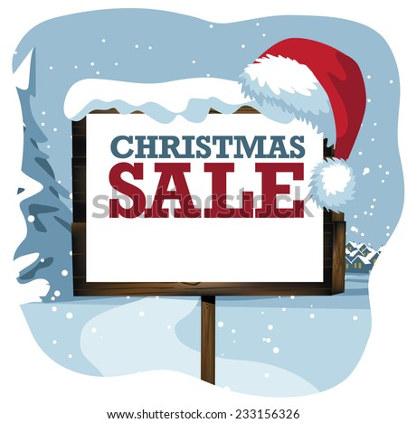 Christmas sale sign in a snowy scene EPS 10 vector stock illustration - stock vector