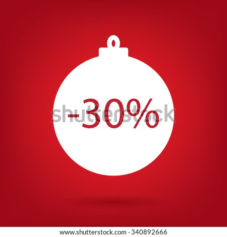 christmas sale sticker tag, 30 percent discount - stock vector
