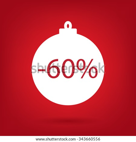 christmas sale sticker tag, 60 percent discount - stock vector