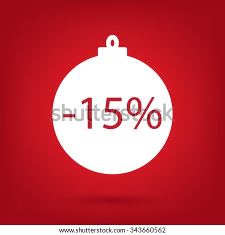 christmas sale sticker tag, 15 percent discount - stock vector