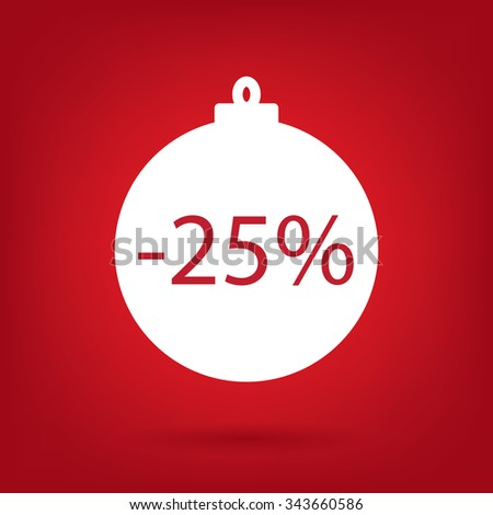 christmas sale sticker tag, 25 percent discount - stock vector