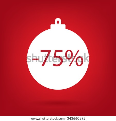 christmas sale sticker tag, 75 percent discount - stock vector