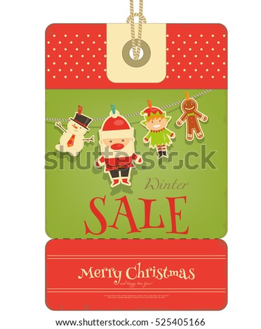 Christmas Sale Tag in Retro Style. Santa Claus, Gingerbread man, Snowman and Elf.  Isolated on White Background. Vector Illustration
