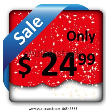Christmas sale tag/label/ribbon - stock vector