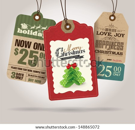 Christmas Sale Tags - stock vector