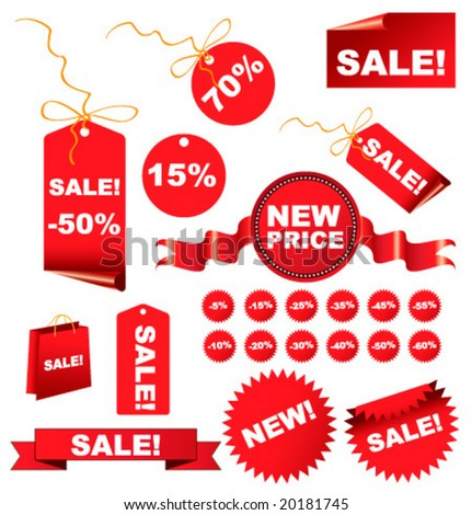 Christmas  sale tags for you site and business. Vector illustration.
