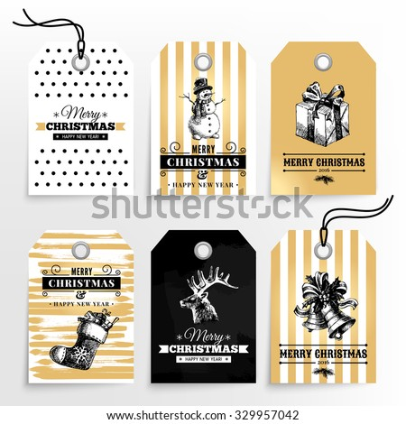 Christmas sale tags. Happy New Year labels set. Hand drawn sketch vintage vector illustrations. Gold design - stock vector