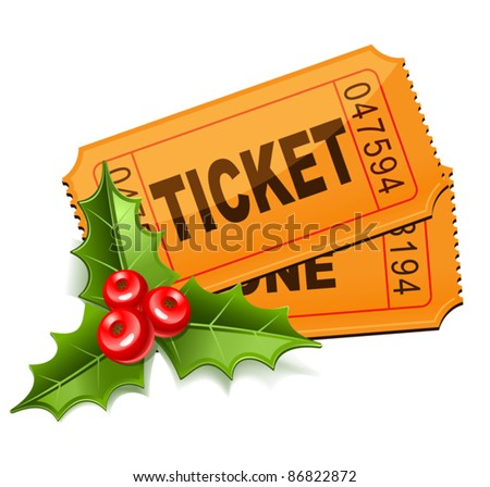 Christmas Sale. Tickets with the mistletoe - stock vector