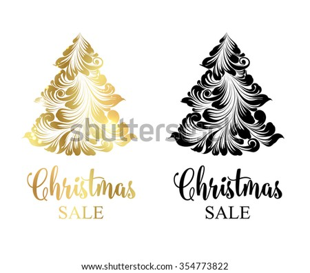 Christmas sale tree with sparks  isolated over white background. Merry Christmas sale card. Vector illustration.  - stock vector