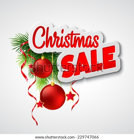 Christmas sale. Vector template - stock vector