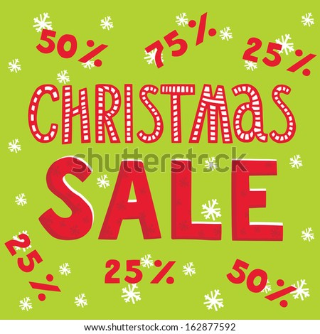 Christmas sale with different percent items. Snowflakes on background. Hand-drawn lettering. Vector illustration.