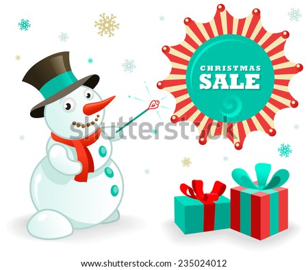 Christmas Sales Banner: Funny Snowman and xmas gifts. Vector illustration