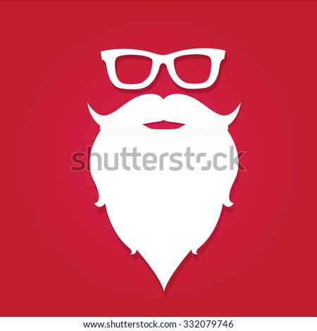 Christmas santa claus beard poster for party or greeting card. Vector illustration. Santa Hipster Claus. vector merry christmas art design - stock vector