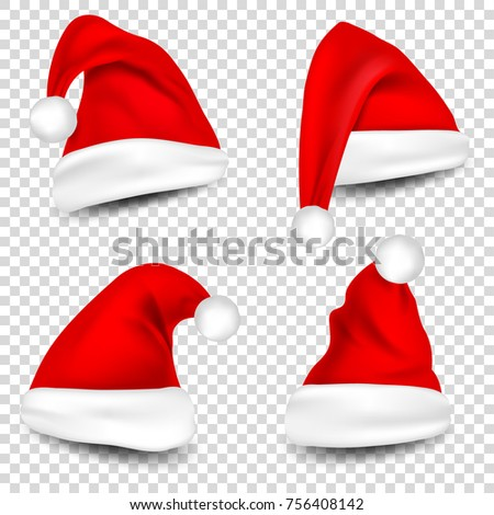 christmas santa claus hats with shadow set new year red hat isolated on transparent background - Santa Claus Red