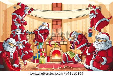 Christmas Santa Claus Invasion.  Many Santa Clauses to issue a large room for the celebration of Christmas and New Year - stock vector